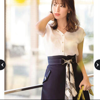 Rirandture - 【定価】16200円★スカーフ付配色ステッチスカート 紺