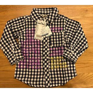 パーティーパーティー(PARTYPARTY)の新品未使用 PARTY PARTYチェックシャツ 90 定価2900円(ブラウス)