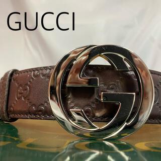 Gucci - GUCCI グッチ GGベルト ブラウン GG柄 インターロッキング