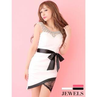 JEWELS - Jewels ウエストリボン/ポイントレース/ビジューデザイン ミニドレス