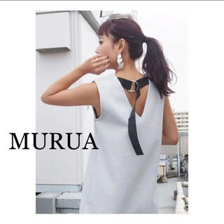 ムルーア(MURUA)のMURUA バックベルトロングワンピース(グレー)(ひざ丈ワンピース)