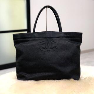 CHANEL - 美品 シャネル キャビアスキン ココマーク トートバッグ ブラック