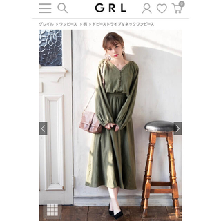 GRL - 【グレイル】ドビーストライプVネックワンピース【GRL】