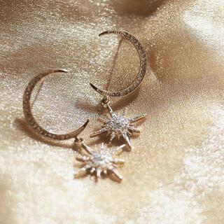 STAR JEWELRY - crescent pave zirconia pierce ◯s925 post