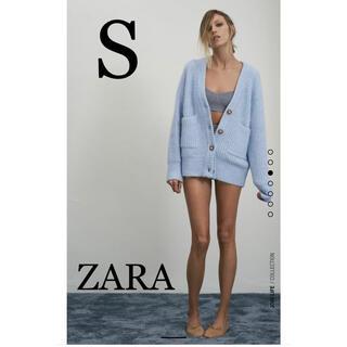 ZARA - ZARAザラパッチポケットニットカーディガン ライトブルーS 春色