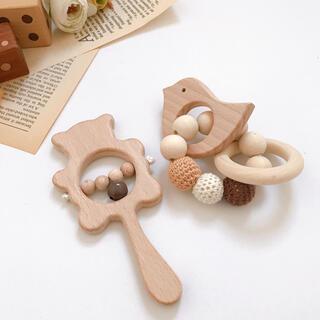2点セット‼︎【新品】木製・くまさんラトル&ひよこさん歯固め