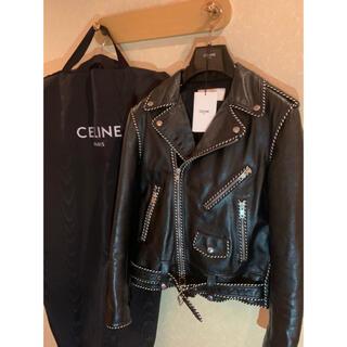 celine - CELINE パイピング バイカーレザーライダースジャケット
