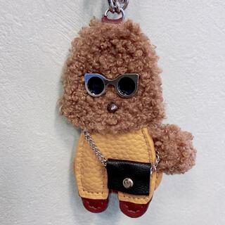 トイプードル バッグチャーム キーホルダー 犬 ドッグ  フワフワ ブラウン(キーホルダー)