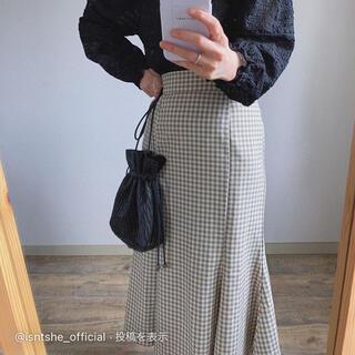 Kastane - isntshe チェックパターンマーメイドペプラムスカート