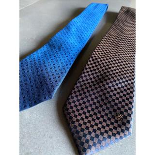 ルイヴィトン(LOUIS VUITTON)のLOUIS VUITTON ネクタイ 2本セット ブルー ダミエ 美品(ネクタイ)