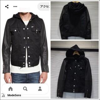 DIESEL - DIESEL ラムレザー&ブラックデニムジャケット。着用回数は少なく綺麗な状態で