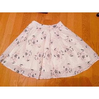 レトロガール(RETRO GIRL)のretlogirl レトロガール 白 花柄 フレアスカート(ひざ丈スカート)