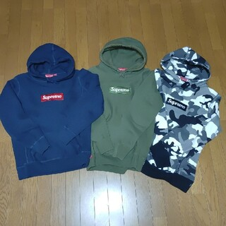Supreme - Box Logo Hooded  Navy / Olive / Snow Cam
