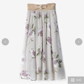 しまむら - 新作 ベルト付き春の花柄フレアスカート