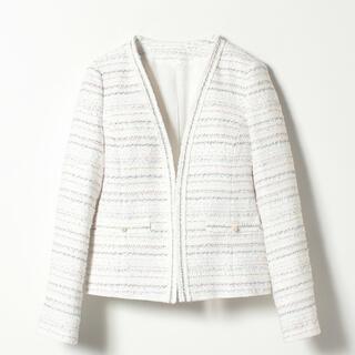 ANAYI - 【美品ANAYIアナイ】ホワイト系ノーカラーツイードジャケット