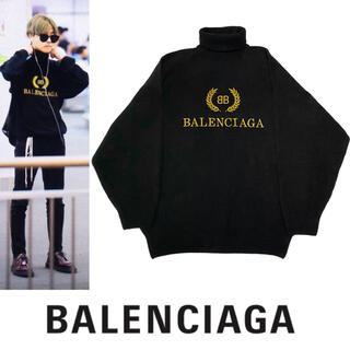Balenciaga - BALENCIAGA バレンシアガ ロゴ刺繍 タートル ネック ニット セーター