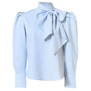 Bibiy. ribbon cuffs blouse -stripe リボン