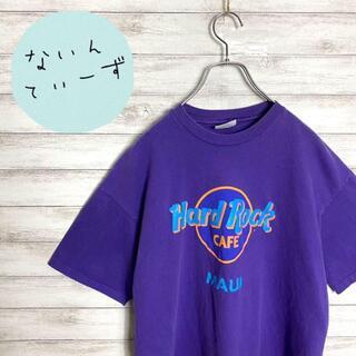 ヘインズ(Hanes)の【USA製】90s ハードロックカフェ パープル デカロゴ カットオフ Tシャツ(Tシャツ/カットソー(半袖/袖なし))