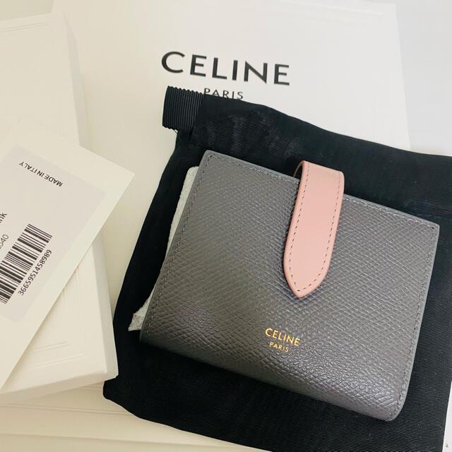 celine(セリーヌ)のセリーヌ スモールストラップウォレット グレー×ヴィンテージピンク レディースのファッション小物(財布)の商品写真
