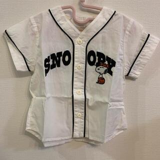 petit main - petit main 90cm ベースボールシャツ スヌーピー
