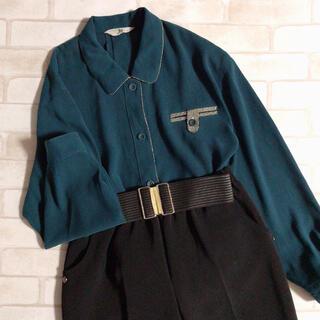 Santa Monica - 訳あり 青緑 ブルーグリーン 柄ライン シンプル 古着 レトロシャツ