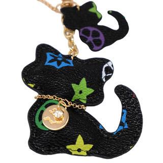 ネコ キーホルダー バッグチャーム 可愛い ブラック QM015(キーホルダー)