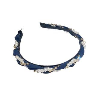 アンクルージュ(Ank Rouge)の真珠 紺 ネイビーカチューシャ ロリータ ゆめかわ やみかわ  量産系 地雷系(カチューシャ)