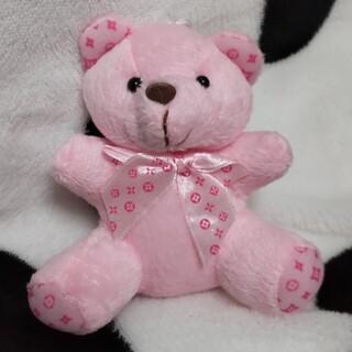 ピンクの熊さん モノグラム柄 キーチェーン キーリング キーホルダー ピンク(キーホルダー)