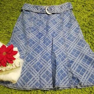 BURBERRY BLUE LABEL - バーバリーブルーレーベル レディチェック柄デニムスカート e1044