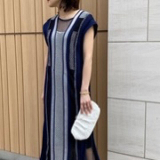 mame - Mame Kurogouchi  Net Stripe Knit Dress