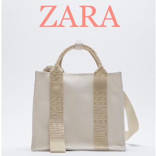 ZARA - 新品 ZARA ロゴストラップキャンバスミニトートバック エクリュ
