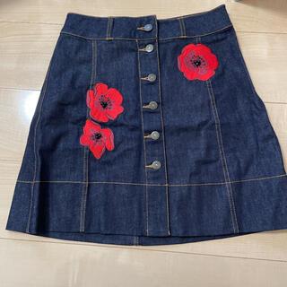 kate spade new york - デニムスカート 刺繍 ケイトスペード