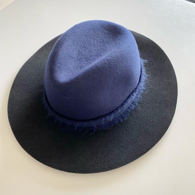 ZARA(ザラ)のZARA accessories 秋冬用 ハット ネイビー×ブラック レディースの帽子(ハット)の商品写真