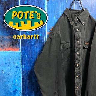 carhartt - 【カーハート】レザーロゴフラップ付きダブルポケットワークシャツ