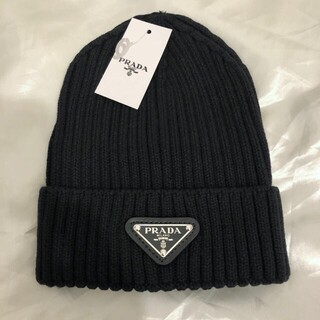 PRADA ニット帽 ビーニー 黒 ブラック