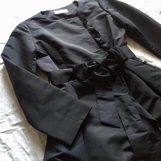 M-premier - M-premier BLACK フリルノーカラーコート スプリングコート 38