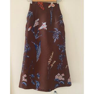 mame - Mame Kurogouchi ジャガードエンブロイダリーボタニカルスカート