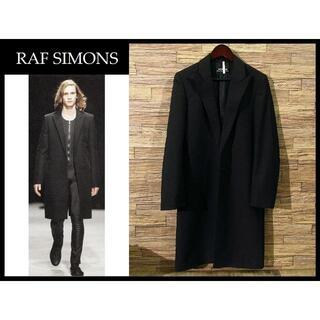 RAF SIMONS - クリ済 希少 ラフシモンズ 初期 ウール ストライプ チェスター コート L 黒