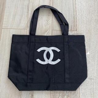 CHANEL - 【新品】CHANELシャネル  トートバッグ ノベルティ 黒×白ロゴ