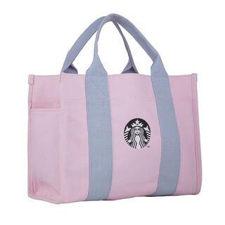 スターバックスコーヒー(Starbucks Coffee)の【すぐ発送可能】台湾 スターバックス 桜 トートバッグ ポケット付 ピンク(ハンドバッグ)