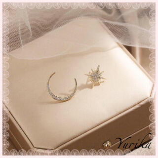 AHKAH - Moon & Star asymmetry pierce ♡ Gold ver