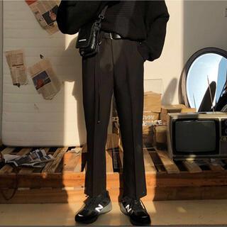 【M.P Studios】TR素材 タック入り スラックス ウエストゴム 黒
