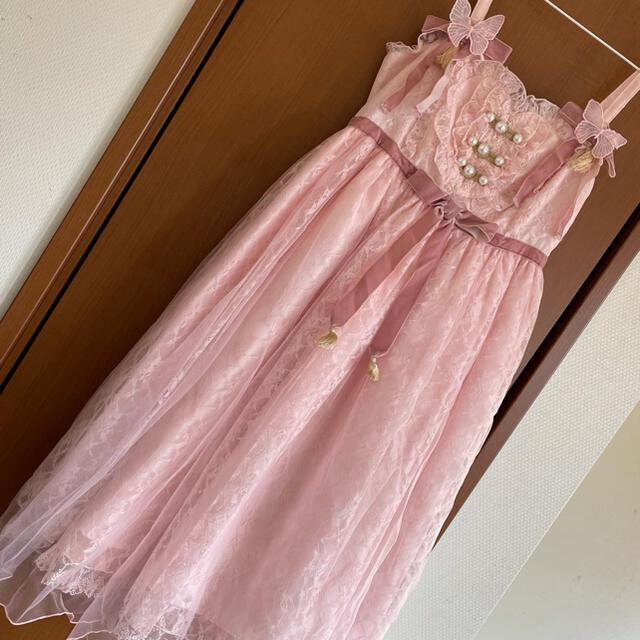 Angelic Pretty(アンジェリックプリティー)のShanghai Doll ジャンパースカート ピンク レディースのワンピース(ひざ丈ワンピース)の商品写真