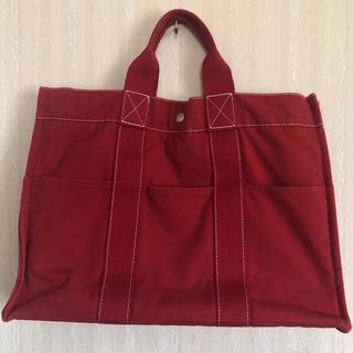 エルメス(Hermes)の(お値段交渉受付ます)HERMES エルメス赤色×白ステッチトートバッグ  (トートバッグ)