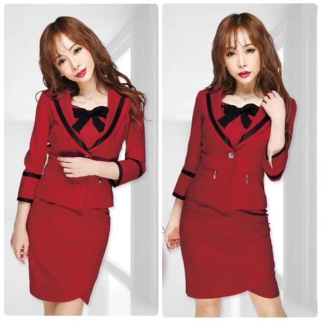 Andy(アンディ)のsobre 新品 リボン セットアップ スーツ レッド 赤 ドレス レディースのフォーマル/ドレス(スーツ)の商品写真