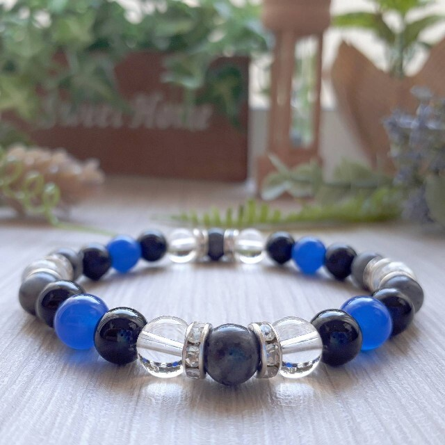 パワーストーン 天然石 ブレスレット ブルーアゲート オニキス 他 ハンドメイドのアクセサリー(ブレスレット/バングル)の商品写真