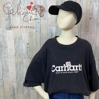 carhartt - 【大人気】カーハート デカロゴ プリント ブラック Tシャツ 古着