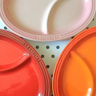 ルクルーゼ(LE CREUSET)の♡ルクルーゼ  マルチ オーバル プレート S ピンク オレンジ レッド (食器)