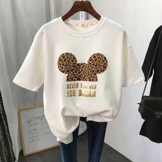 ヒョウ柄 白 ホワイト ミッキー Tシャツ レディース シャツ(Tシャツ(半袖/袖なし))