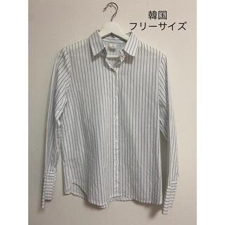 韓国 ストライプシャツ ブラウス トップス レディース(シャツ/ブラウス(長袖/七分))